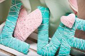 word love in delicate pink and green colors
