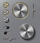 Grey metal buttons and dials set.