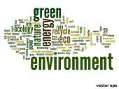 Vector eps concept or conceptual abstract green environment and ecology and conservation word cloud