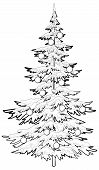 Christmas tree with ornaments, contours