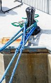 Blue Ships Rope To Black Bollard