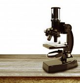 Microscope in front of plain background