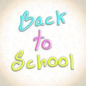 Glossy text Back to School on seamless brown background.
