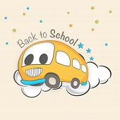 Cartoonist illustrations of a school bus on beige background.