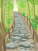 stock photo of stepping stones  - Illustration of a Flight of Stone Steps That Serve as a Trail in the Forest - JPG