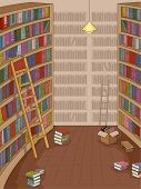 Illustration Featuring a Library with Books Strewn Around