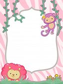 Feminine Frame Illustration Featuring a Cute Lion and Monkey