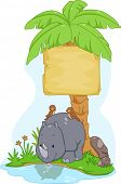 Board Illustration Featuring a Cute Rhinoceros with Birds Resting on Its Back