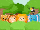 Illustration Featuring Cute Safari Animals