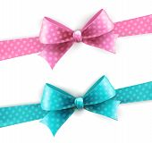 Vector Isolated Blue And Pink Polka Dots Bow