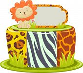 Illustration of a Cake Designed with Safari Prints and a Lion Cake Topper