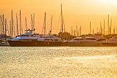 Golden Sunset At Yacht Club