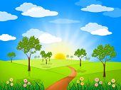 Sun Rays Means Radiate Sunburst And Landscape