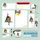 Abstract Business Corporate Identity Template Composed Of Geometry