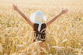 Girl on wheat field