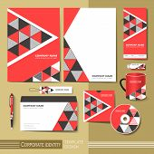 Corporate Identity Template With  Red And Black Triangle Elements.