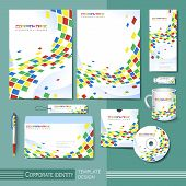 Corporate Identity Template With Colorful Square Distorted Elements.