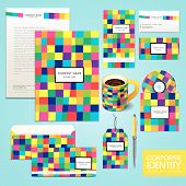 Business Corporate Identity Template With Color And Abstract Background