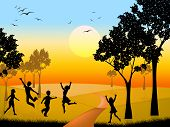 Countryside Kids Indicates Free Time And Outdoor