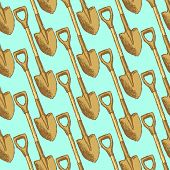 Sketch Garden Shovel, Vector  Seamless Pattern