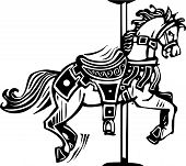 stock photo of carousel horse  - Woodcut style image of a wooden carousel horse - JPG