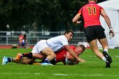 MOSCOW, RUSSIA - JUNE 29, 2014: Match for place 7 between France (white uniform) and Belgium during