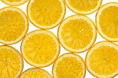 Cut Into Thin Slices Orange On White Background