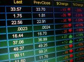 pic of stock market crash  - A close up of stock market quotes - JPG