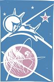 pic of laika  - Soviet Poster style image of the Russian cosmonaut dog Laika orbiting the earth - JPG