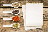 Menu Background. Recipe Notepad With Diversity Of Spices And Herb.