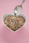 Muesli In A Heart Shaped Bowl