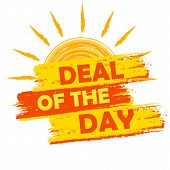 Summer Deal Of The Day, Yellow And Orange Drawn Label