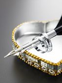 rings,pen and the heart shape jewelbox