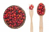 Rosehip In A Plate, Fork And Spoon