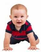 Portrait Of Happy Smiling Baby Boy Crawling Isolated On White