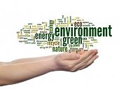 Concept or conceptual abstract green ecology environment, conservation word cloud text in man hand o