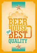 Illustrated beer poster with typography. Vector illustration.