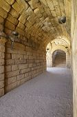 Tunnel in Roman theater in Merida, the theater, today, is used for theatrical performances, Merida,