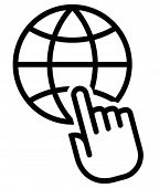 Globe under finger icon