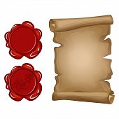 Old Paper Scroll And Red Wax Seal