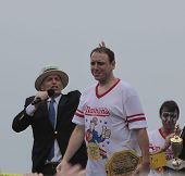 Champion Joey Chestnut on stage