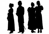 Silhouettes of people in vintage dress on a white background