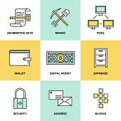stock photo of mine  - Flat line icons set of bitcoin digital money cryptocurrency system and mining pool security software technology and virtual currency management - JPG