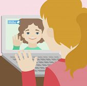 Video Chat Of Two Girlfriends Flat Illustration