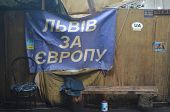 KIEV, UKRAINE - APR 19, 2014:Vandalism in downtown. Kiev under occupation of peasants from Western U