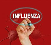 stock photo of influenza  - writing word INFLUENZA with marker on red background made in 2d software - JPG