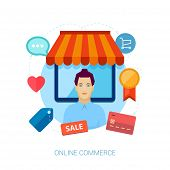 Online shopping flat design vector illustration concepts.vector illustration with woman seller in fr