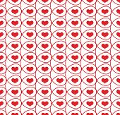 Seamless pattern with hearts in loops