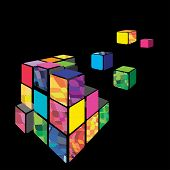 Rubik cube 3D vector with black background.