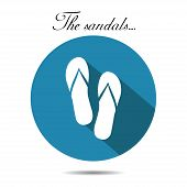 Vector sandals icon. On the white background.